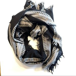 Wilfred Blanket Scarf 100% Wool Mixed Stripes